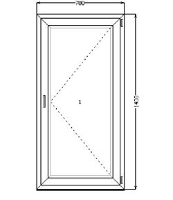 Поворотное окно 1400*700 (SCHÜCO AS 60/4-16-4) - фото 4552