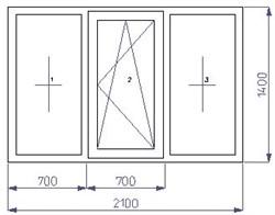 Тройное окно 1400*2100 (SCHÜCO CT 70(3)/AXOR K3/4-16-4) - фото 4583