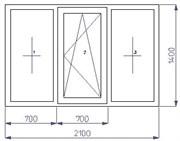 Тройное окно 1400*2100 (SCHÜCO CT 70(3)/AXOR K3/4-16-4)