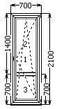 Балконная дверь поворотно-откидная 2100*700 (SCHÜCO AS 60/4-16-4)
